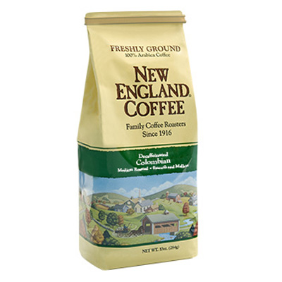 Packaging image for New England Coffee's Decaffeinated Colombian flavored coffee