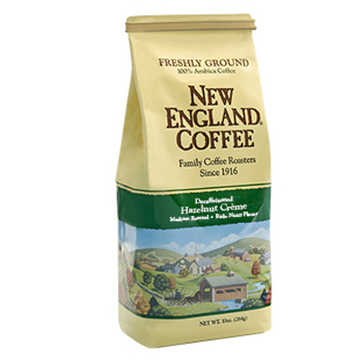 Packaging image for New England Coffee's Decaffeinated Hazelnut Crème flavored coffee