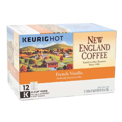Box of single serve frech vanilla coffee
