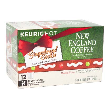 Box of single serve ginger bread cookie flavored coffee