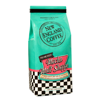 Packaging image for New England Coffee's Mocha Malt Shoppe flavored coffee