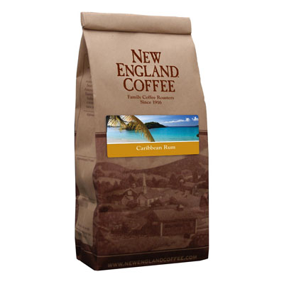 Packaging image for New England Coffee's Caribbean Rum flavored coffee