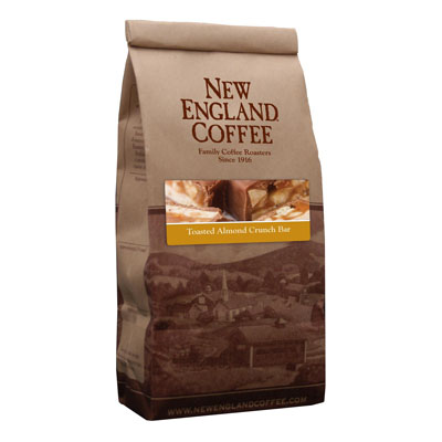 Packaging image for New England Coffee's Toasted Almond Crunch Bar flavored coffee