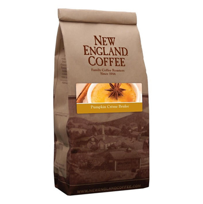 Packaging image for New England Coffee's Pumpkin Crème Brulee flavored coffee