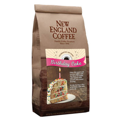Packaging image for New England Coffee's Birthday Cake flavored coffee