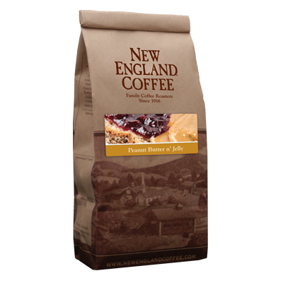 Packaging image for New England Coffee's Peanut Butter n'Jelly flavored coffee