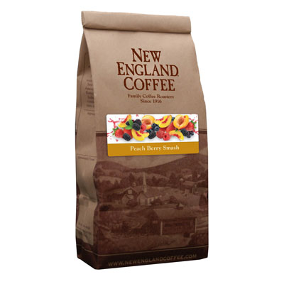 Packaging image for New England Coffee's Peach Berry Smash flavored coffee