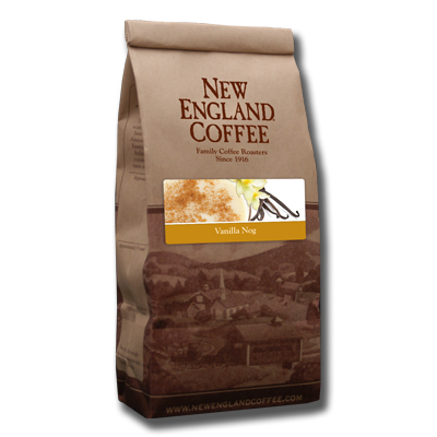 Packaging image for New England Coffee's Vanilla Nog flavored coffee