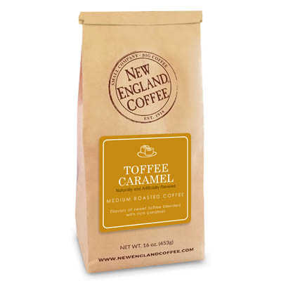 Bag of Toffee Caramel flavored coffee